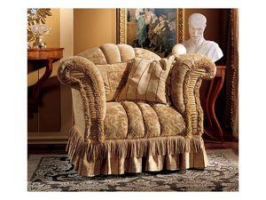 Emanuela armchair, Fauteuil rembourré avec des tissus précieux