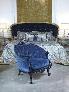 Fauteuil 3698, Fauteuil classique en velours bleu