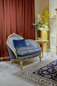 Fauteuil 4972 de style Louis XVI, Fauteuil de luxe, avec une finition décapée antique