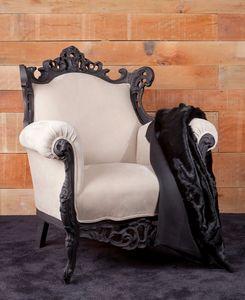 Finlandia Cuir, Nouveau fauteuil baroque, recouvert de cuir nubuck