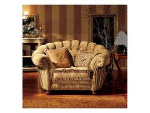 Marika armchair, Fauteuil de style classique avec un dossier semi-circulaire