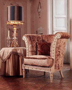 Monnet Fauteuil, Fauteuil en style classique de luxe, couvrant matelassé