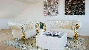Oceano cuir, Fauteuil en cuir de style baroque neuf