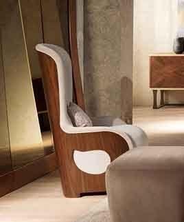 PO62 Galileo fauteuil, Fauteuil rembourré en noyer pour les classiques contemporains salons