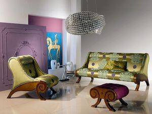 PO21 Glamour, Chaise avec pouf, incrusté, classique, pour le Temple hôtel