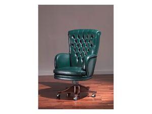 Praga Capitonnè, Chaise de style antique, cuir vert, pour le bureau de prestige