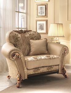 Sinfonia poltrona, Chaise douce avec des décorations d'or, riche et elegnate