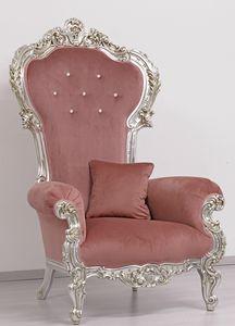 Trono Small, Trône en bois sculpté, Nouveau luxe de style baroque