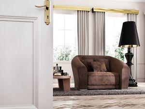Bilbao fauteuil, Fauteuil en bois rembourré, de style contemporain et classique