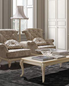 Florentia fauteuil, Fauteuil classique avec sculptures décoratives