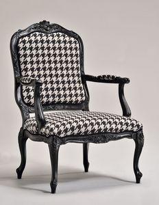 MARIE fauteuil 8537A, Fauteuil classique, base de hêtre, rembourrée, pour le salon