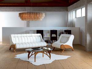 PO27 Contemporary, Fauteuil réglable rembourré, structure en bois, moderne