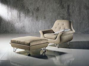 PO29 Cherubino, Wrap-around Fauteuil avec dossier touffeté, pour les salons modernes