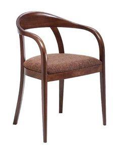 C27, Fauteuil en bois cintré avec des armes, revêtue en tissu siège, pour les restaurants et les hôtels