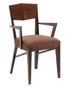 C29, Fauteuil en bois avec les bras, revêtue en tissu siège, pour l'hôtel et les restaurants