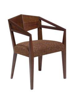 C32, Fauteuil avec bras en bois massif, siège rembourré, revêtement en tissu, pour restaurants et bars