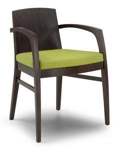 Ketty L, Chaise moderne en bois massif en arrière, pour une utilisation du contrat
