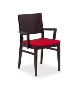 M02, Chaire en bois de hêtre, assise rembourrée, style moderne