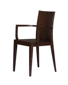 M08, Chaise en bois avec accoudoirs, pour l'usage de contrat