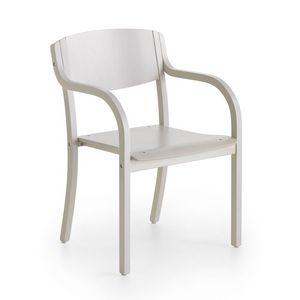 Marta 03 W, Chaise en bois avec accoudoirs, minimalisme, salle à manger