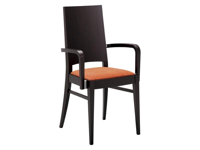 PL 121, Chaise en bois moderne avec accoudoirs pour un restaurant
