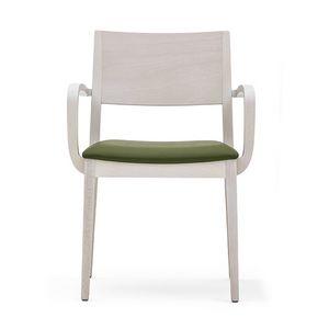 Sintesi 01521, Fauteuil en bois massif, siège rembourré, style moderne