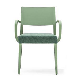 Sintesi 01523, Fauteuil en bois massif avec les bras, assise rembourrée, pour les environnements de contrat et domestiques