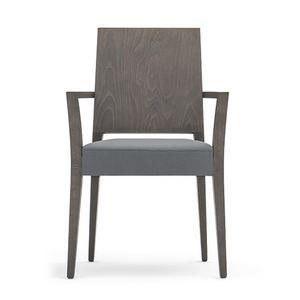 Timberly 01721, Chaise empilable, cadre en bois massif, siège rembourré, couvrant avec du tissu, pour les cantines