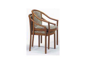 176 IMP, Chaise empilable rembourrée, en bois, pour les bars