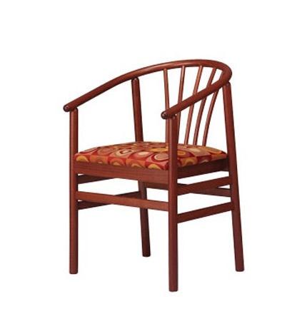 401, Chaise avec accoudoirs en hêtre, avec assise rembourrée