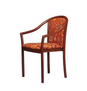 405, Chaise rembourrée avec accoudoirs, en hêtre, pour les restaurants