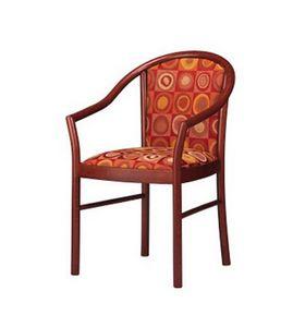 406, Chaise élégante avec les bras, rembourrés, en hêtre