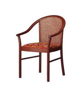 408 C, Chaise avec accoudoirs rembourrés, contrat classique stile