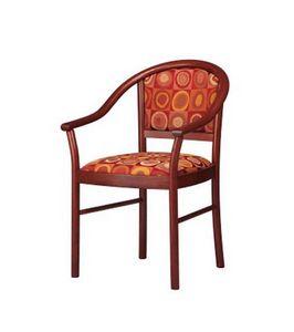 409, Chaise avec accoudoirs arrondis, rembourré, pour le hall