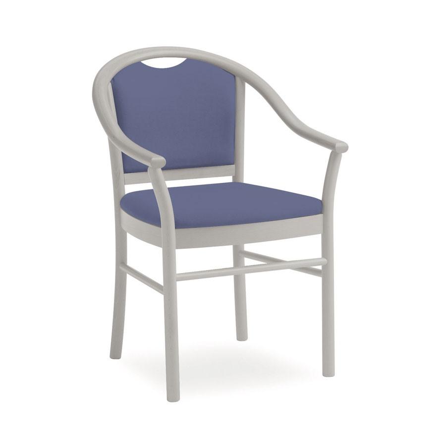 Dolly L1175 3/4 M, Chaise en bois rembourré, à portée de main, pour le salon