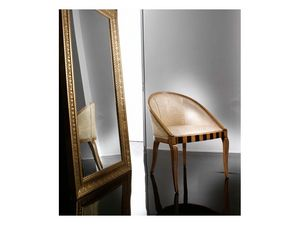 MIMI' armchair 8285A, Fauteuil élégant en hêtre, avec des incrustations originales