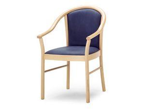 MT/14, Chaise avec accoudoirs en bois, assise et dossier rembourrés