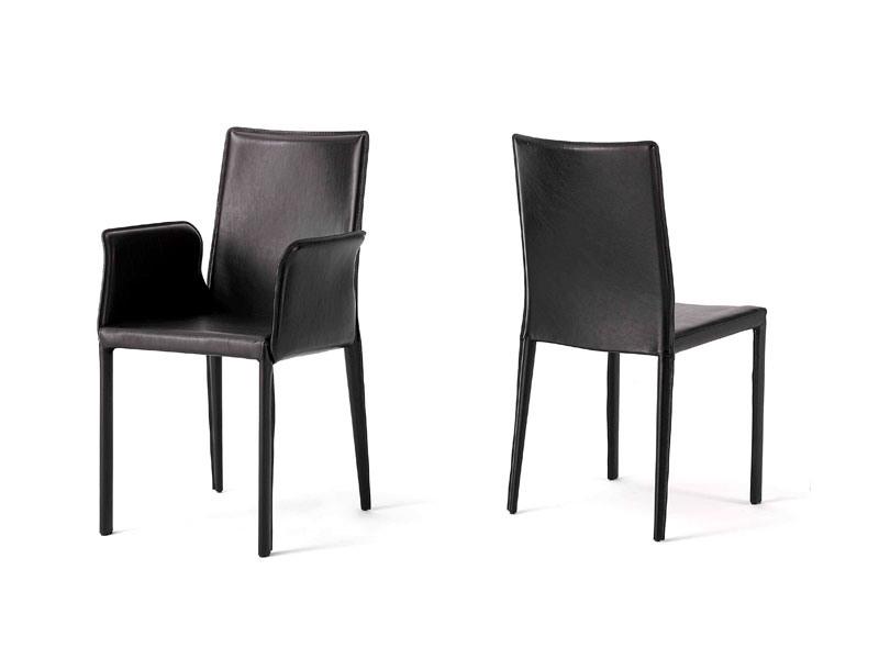 Anemone with armrests, Chaise avec siège en cuir, pour chambre d'hôtel