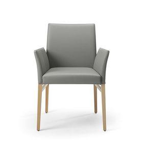 Eva br, Cuir petit fauteuil, pieds en bois massif