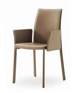 Giselle-BP, Chaise en cuir, avec accoudoirs et dos bas
