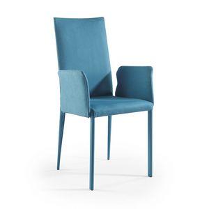 Jury haute BR, Chaise moderne avec bras et revêtement de tissu en suède