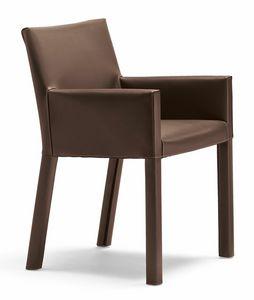 Trama petit fauteuil 10.0183, Petit fauteuil moderne recouvert de cuir