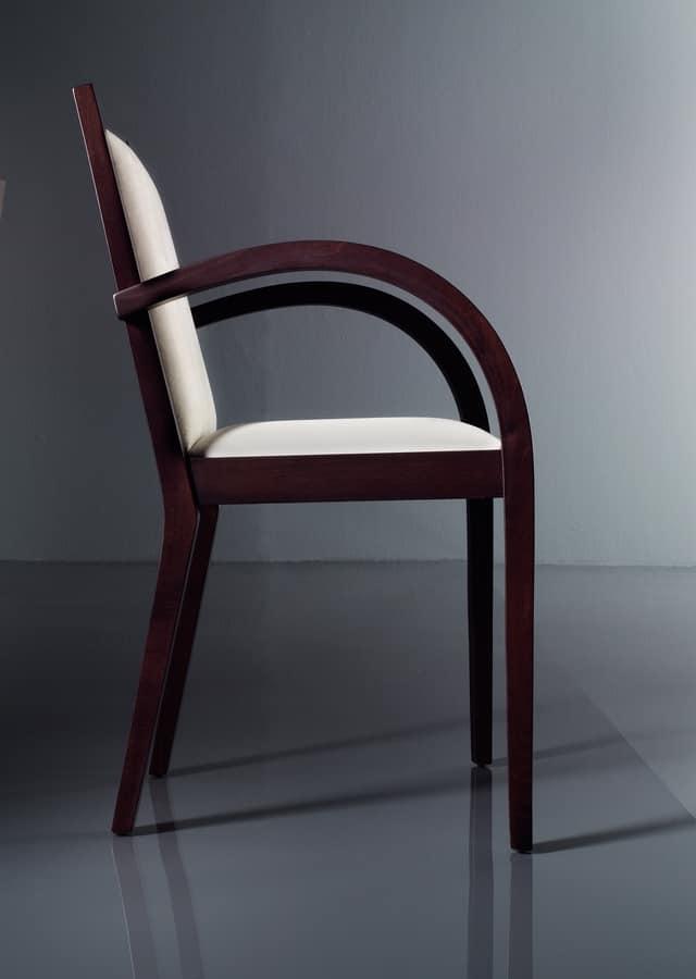 ART. 192 LUNA, Chaise avec accoudoirs rembourrés, en hêtre, pour salons
