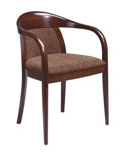 C25, Fauteuil en bois cintré avec des bras, assise et dossier rembourrés, revêtement en cuir, pour un contrat