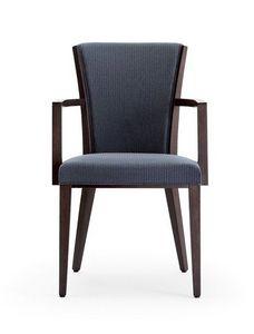 C42, Fauteuil avec bras en bois, assise et dossier rembourrés, recouverts de tissu, pour le contrat et l'usage domestique