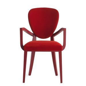 Cammeo 02621, Fauteuil en bois massif, assise et dossier rembourrés, revêtement en tissu, style moderne