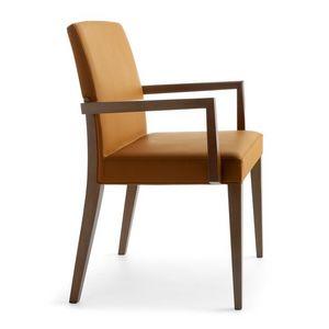 Charme 02521, Chaise en bois avec accoudoirs , une chaise rembourrée pour hôtel