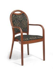 Desiree P, Chaise en bois avec accoudoirs, rembourré, pour les boulangeries