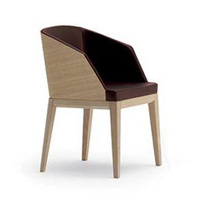 Elly Wood P, Petit fauteuil rembourré, avec l'arrière du dossier en bois