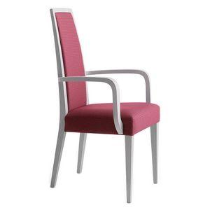 Erminio 00321, Fauteuil avec bras en bois massif, assise et dossier rembourrés, revêtement en tissu, pour l'usage de contrat